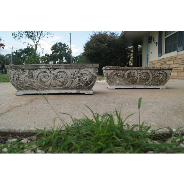 Concrete Antique Footed Concrete Rococo Style Planters - a Pair For Sale - Image 7 of 7