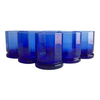 Vintage Cobalt Rocks Glasses, Set of 6