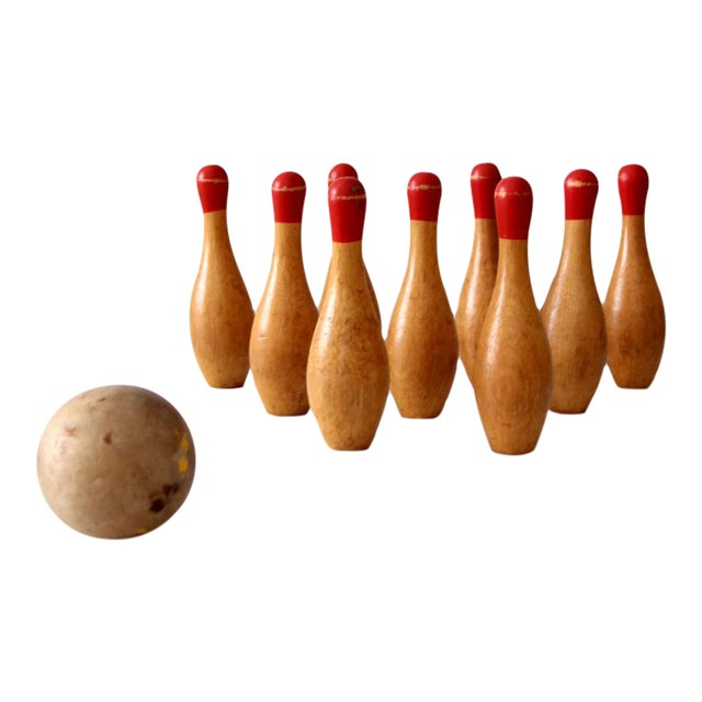 Antique Table Top Bowling Set - Image 1 of 9