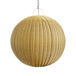 Faux Rattan Globe Lantern Large For Sale