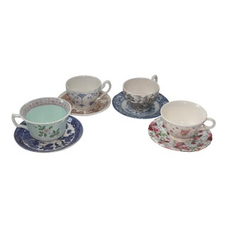 Mismatched Vintage Transferware Cups & Saucers - S/4