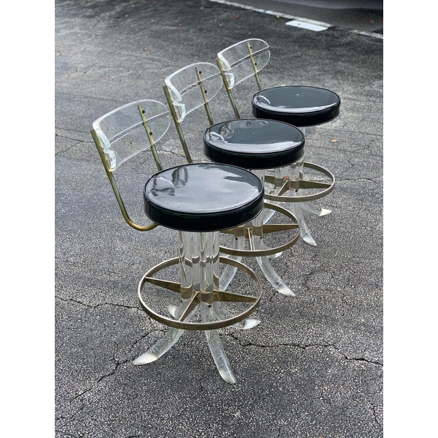 Hill Manufacturing Co. 1970s Hill Mfg Lucite Swivel Barstools - Set of 3 For Sale - Image 4 of 12