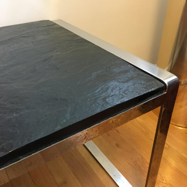 Metal Mid Century Stainless Steel & Slate Bench For Sale - Image 7 of 9