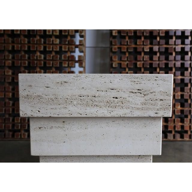 Sculptural Modernist Travertine Pedestal For Sale - Image 4 of 8
