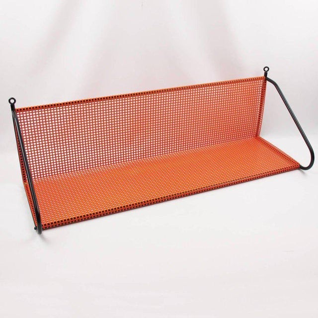French Mathieu Mategot Style Orange Perforated Metal Wall Bookshelf For Sale - Image 3 of 8