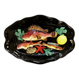 1950 French Majolica Wall Fish Plate Vallauris