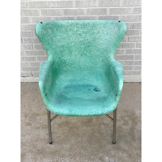 Mid 20th Century Mid Century Modern Fiberglass Aqua Green Chair With Chrome Legs For Sale - Image 5 of 13