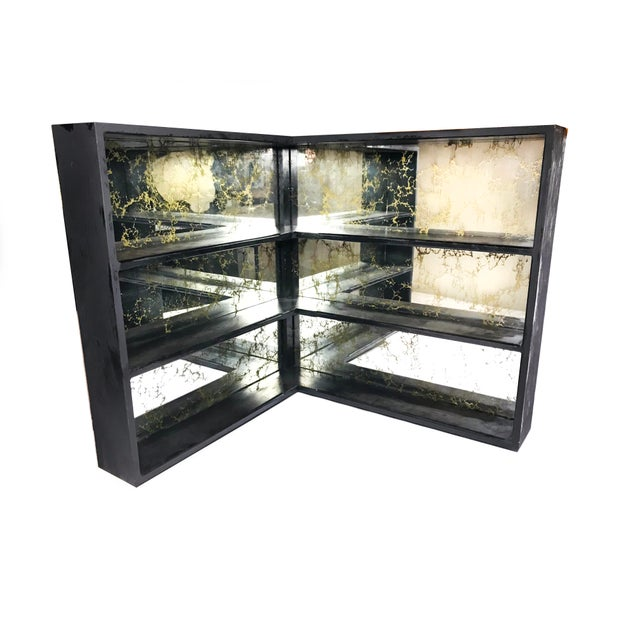 Black 1960s Mid Century Modern Gold Veined Mirror and Black Wood Shelving System For Sale - Image 8 of 8