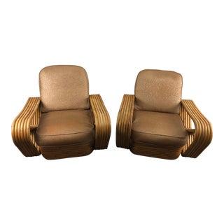 Vintage Paul Frankl Pretzel Rattan Armchairs - a Pair For Sale