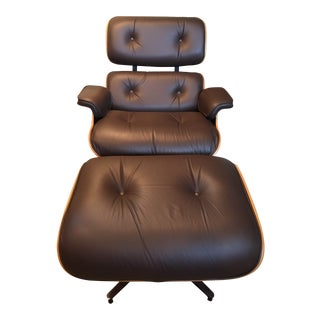Eames Lounge Brown Leather Chair and Ottoman For Sale