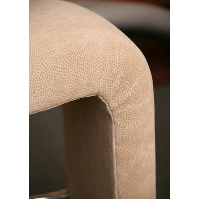 Luxe Modern Faux Ostrich Upholstered Stools - Image 6 of 9