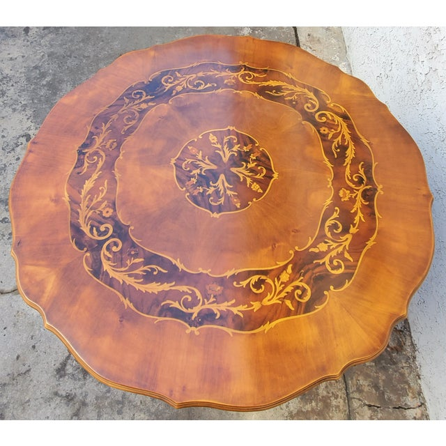 Early 20th Century Antique Carved & Inlaid Rococo Revival Italian Round Dining Set-Set of 5 For Sale - Image 5 of 13
