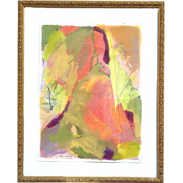 Abstract Framed Small Landscape Painting in Vintage Gold Frame For Sale