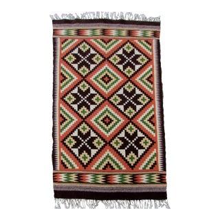 1970s, Handmade Vintage Mexican Aztec Kilim 3.3' X 6.1' For Sale