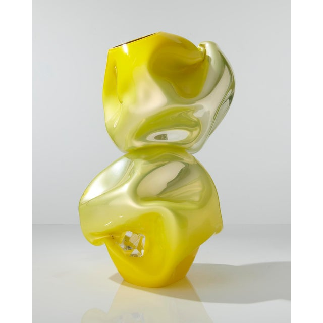 Contemporary Unique crumpled sculptural double vessel For Sale - Image 3 of 5