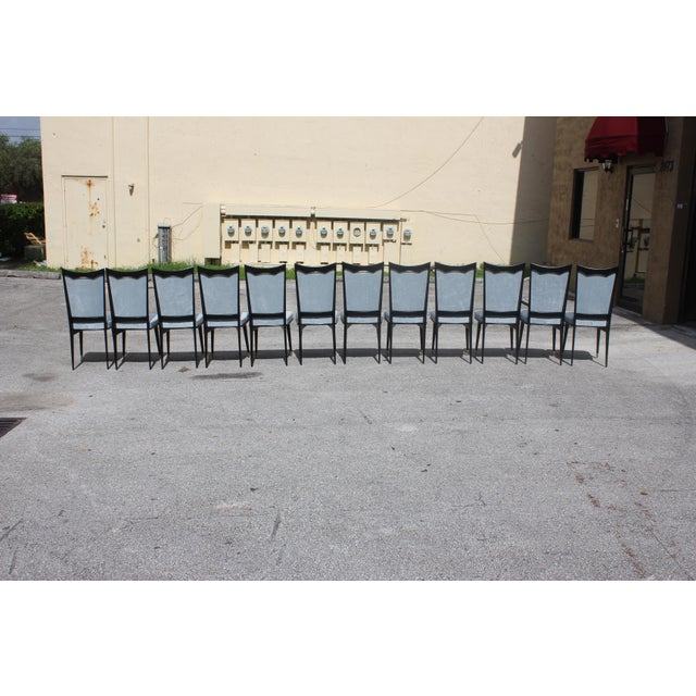 Monumental Set of 12 French Art Deco Dining Chairs, Circa 1940s For Sale In Miami - Image 6 of 13