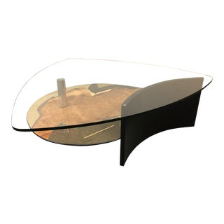 Exotic Wood Marquetry & Glass Coffee Table