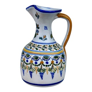 Vintage Spanish Majolica Porcelain Hand Painted Decanter Pitcher For Sale