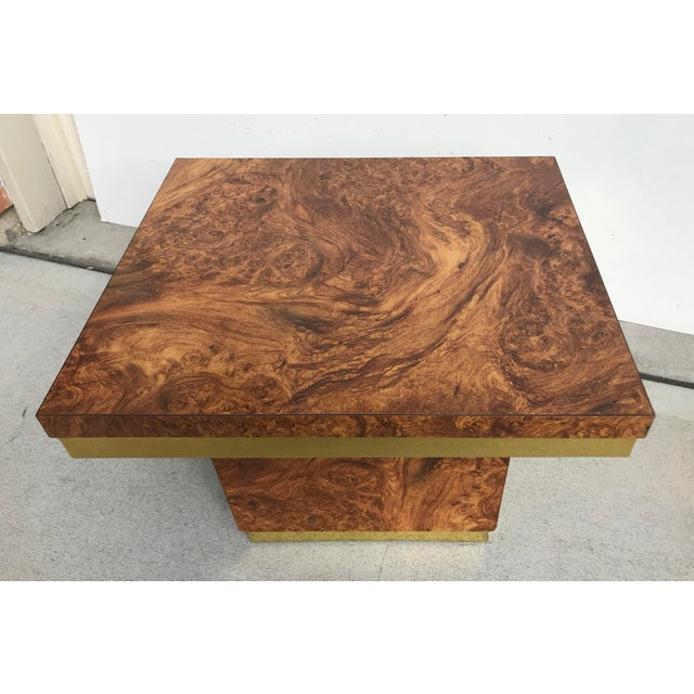 Mid 20th Century Faux Burl and Brass Accent Table For Sale - Image 5 of 10