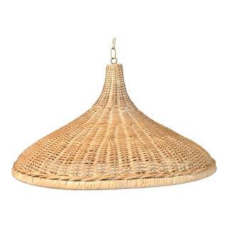 Mid 20th Century Vintage Wicker Parasol Pendant Light For Sale