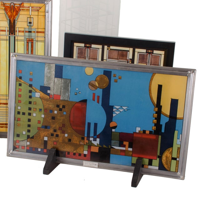 Mid-Century Modern Frank Lloyd Wright Stained Glass Panel Collection For Sale - Image 3 of 8