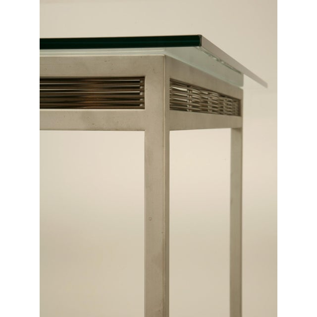 Stainless Steel and Glass Indoor or Outdoor Dining Table For Sale - Image 10 of 11