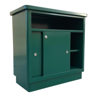 1960s McDowell Craig Steel Tanker Office Cabinet Refinished in Forest Green For Sale