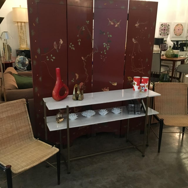 Signed Mid Century Modern Maitland Smith Four-Panel Asian Themed Wood & Brass Screen - Image 10 of 11