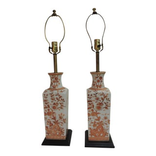Pair of Vintage Chinese Imari Ceramic Table Lamps