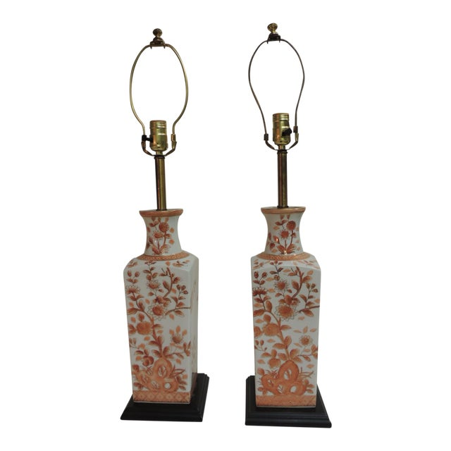 Pair of Vintage Chinese Imari Ceramic Table Lamps For Sale