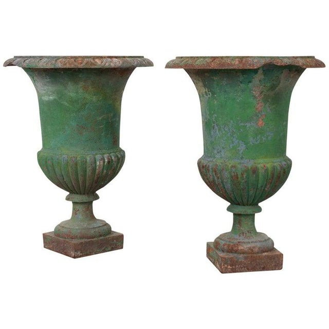 Green French 19th Century Painted Cast Iron Urns - a Pair For Sale - Image 8 of 8