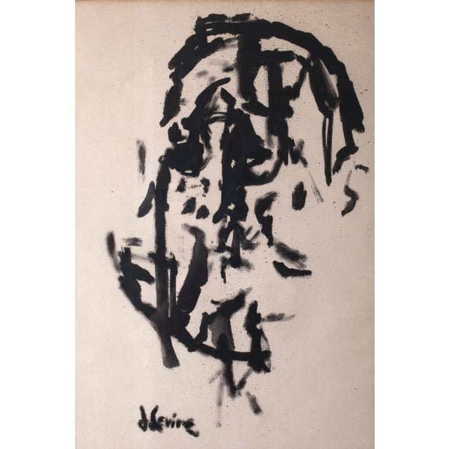 Jack Levine (1915 – 2010) Rare Cubist ink painting by Social Realist artist and satirist Jack Levine, a founder of the...