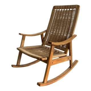 Mid Century Rope Rocking Chair For Sale