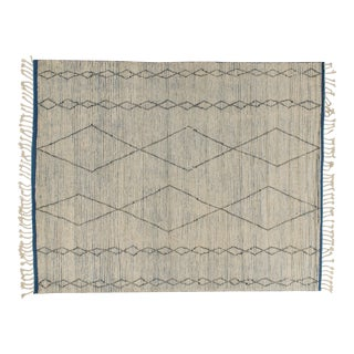 Solo Rugs Grit and Ground Collection Contemporary Marrakech Diamonds II Hand-Knotted Area Rug, White, 8' X 10' For Sale