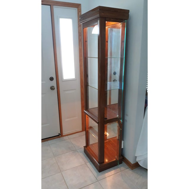 Rectangular Wood & Glass Curio Cabinet For Sale In Chicago - Image 6 of 9