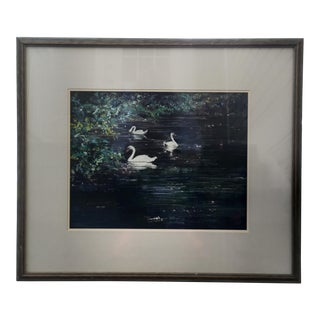 """""""Three Swans a Swimming"""" Pastel Drawing by Joyce Nagel For Sale"""