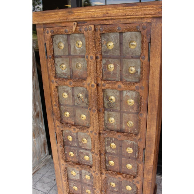 Brown Antique Indian Solid Hand Carved Wood and Iron Clad Armoire For Sale - Image 8 of 9