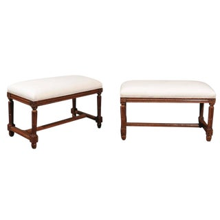 Pair of Italian Walnut Upholstered Wooden Benches from the Early 19th Century