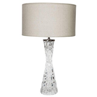Swedish Mid-Century Modern Crystal Ice Glass Lamp by Orrefors For Sale