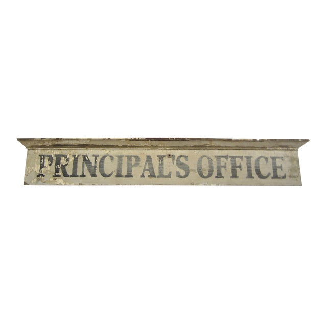 Vintage Wooden Principal's Office Sign - Image 1 of 5