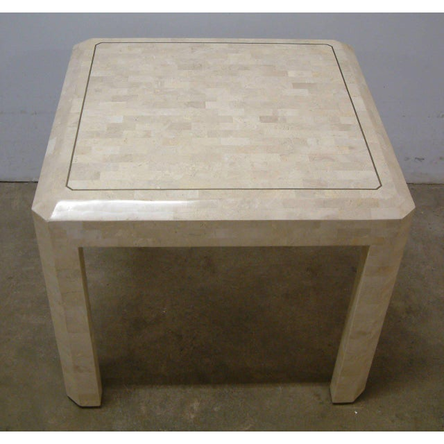 Contemporary Maitland Smith Brass and Tessellated Stone Table For Sale - Image 3 of 9