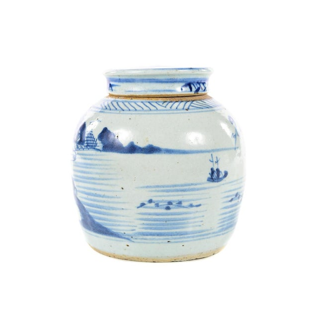 Ceramic Antique Chinese Blue & White Jar For Sale - Image 7 of 9