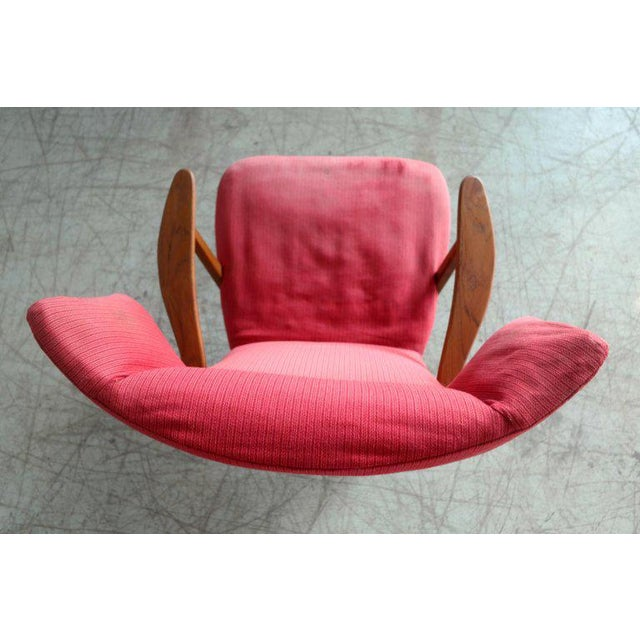 Danish 1950's Madsen and Schubell High Back Lounge Chair in Teak and Oak For Sale - Image 10 of 11