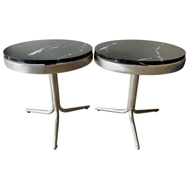 Aluminum and Marble Side Tables - a Pair For Sale - Image 12 of 12