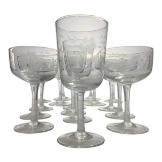 Vintage Wheel Cut Glass Stemware - Set of 16