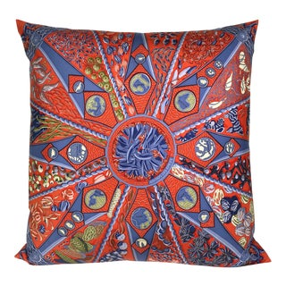 "Hermès ""Aux Pays Des Epices"" Silk Scarf Pillow For Sale"