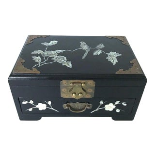 Vintage Chinese Black Lacquer and Mother of Pearl Cherry Blossom Jewellery Box For Sale