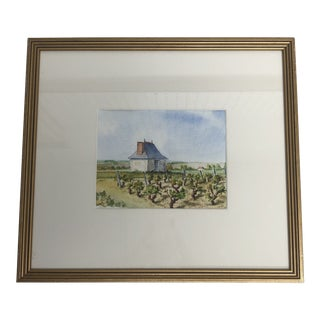 1980s French Vineyard Garden House Painting For Sale