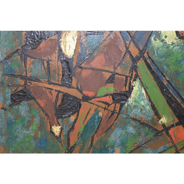 """Canvas Vintage Impasto """"Polo Match"""" Abstract Oil Painting C.1970s For Sale - Image 7 of 11"""
