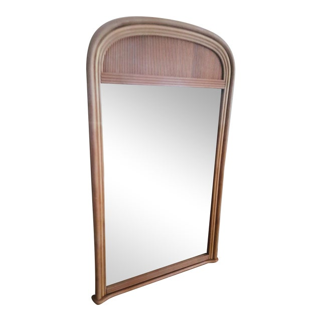 Gabriella Crespi Style Rattan Framed Arch Shaped Wall Mirror For Sale